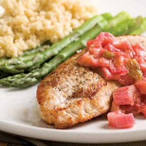 Turkey Cutlets with Rhubarb Chutney